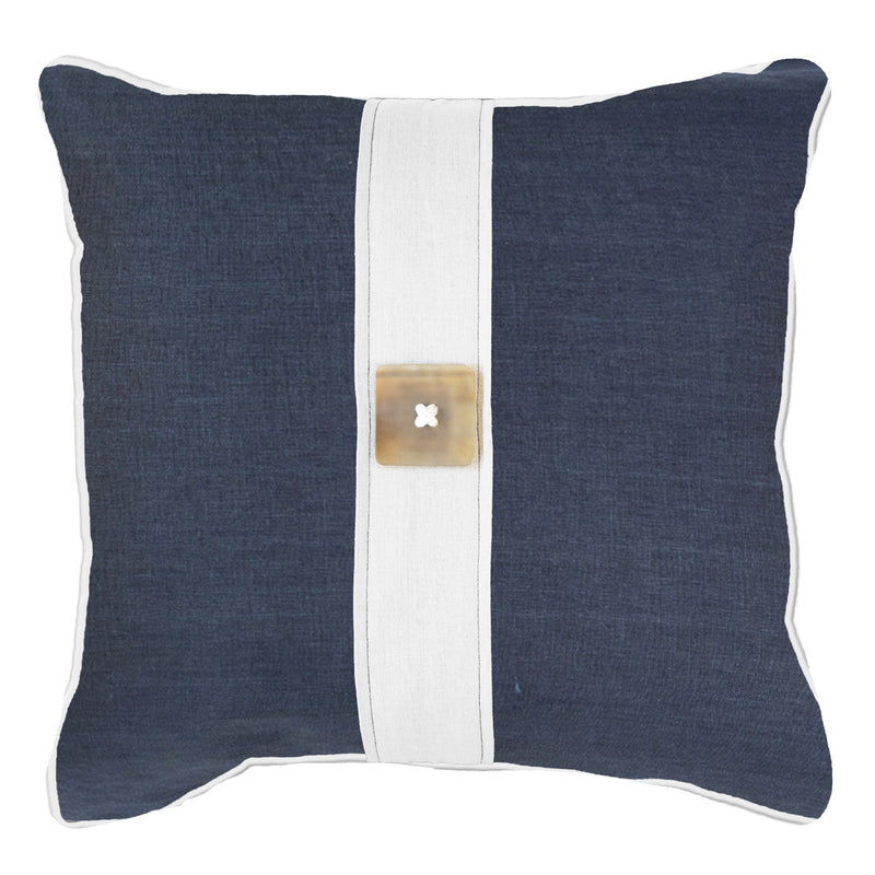 Bandhini Navy Linen Horn Button Cushion