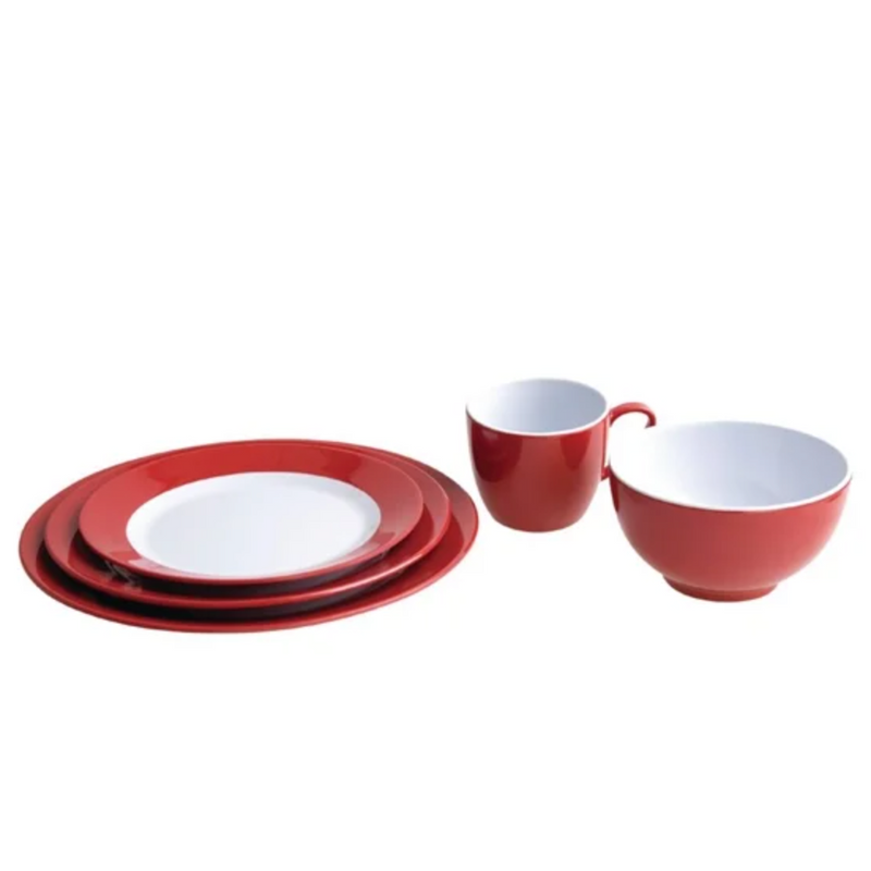Gala Red Melamine Dinnerware Set