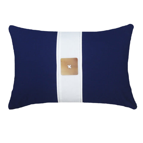 Bandhini Outdoor Navy Horn Button Lumbar Cushion