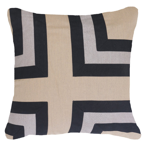 Bandhini Outdoor Black Regent Cross Lounge Cushion
