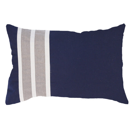 Bandhini Outdoor Navy Stripe Lumbar Cushion
