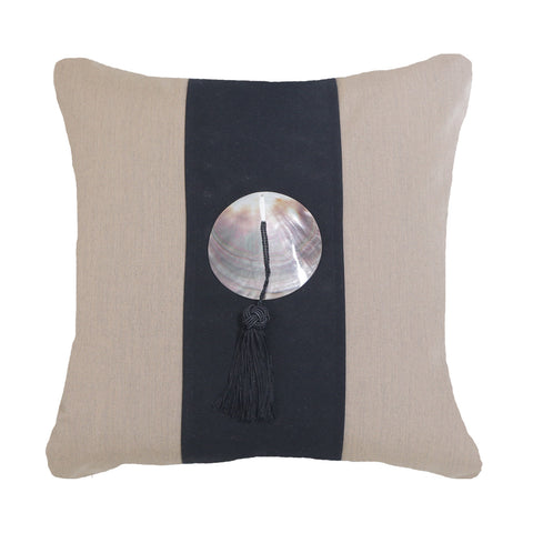 Bandhini Outdoor Black Tassel Cushion