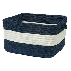 Beach Bum Braided Basket Navy & White