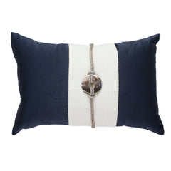 Bandhini Navy Linen Sash Cushion