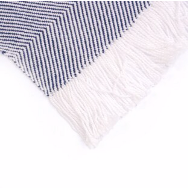 Sunbrella Outdoor Throw Blanket - Natural White & Indigo Blue Chevron Stripe