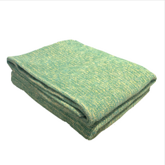 Sunbrella Outdoor Throw Blanket - Spa Green & Natural White Chenille