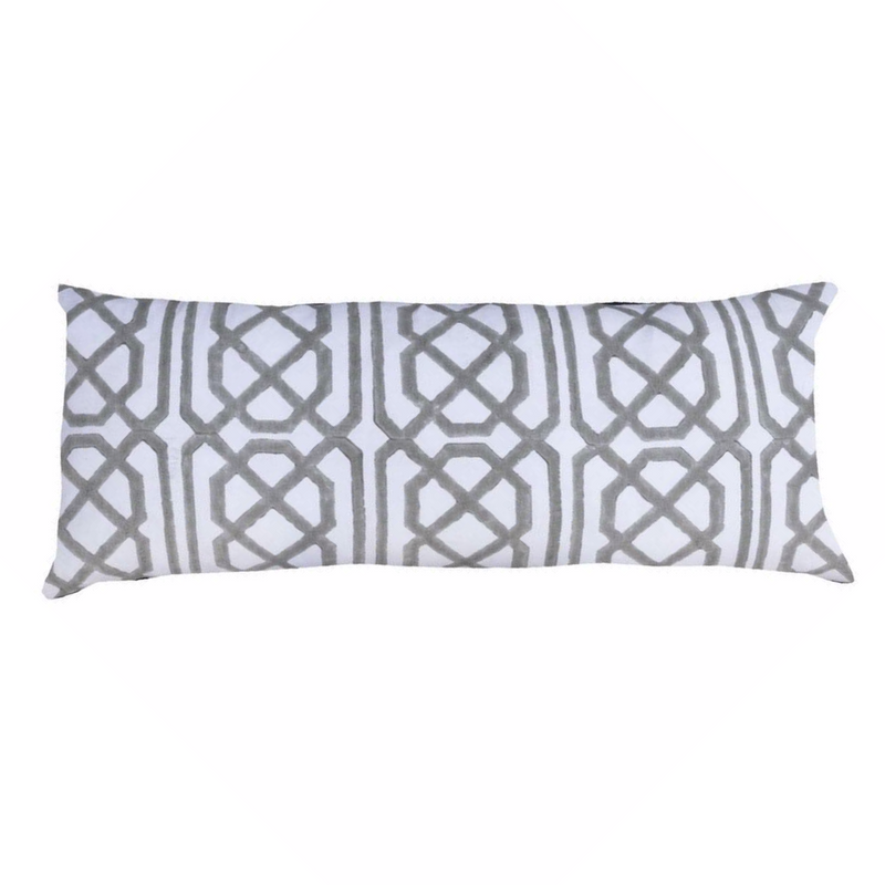 Bandhini  Silver Jagger Long Lumbar Pillow