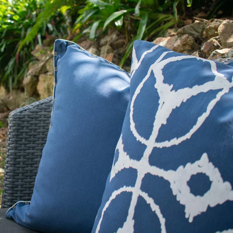 Bandhini Outdoor Storm & White Reversible Lounge Cushion
