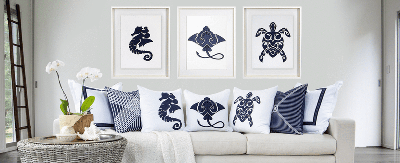 Bandhini Navy Sea Turtle Lounge Cushion