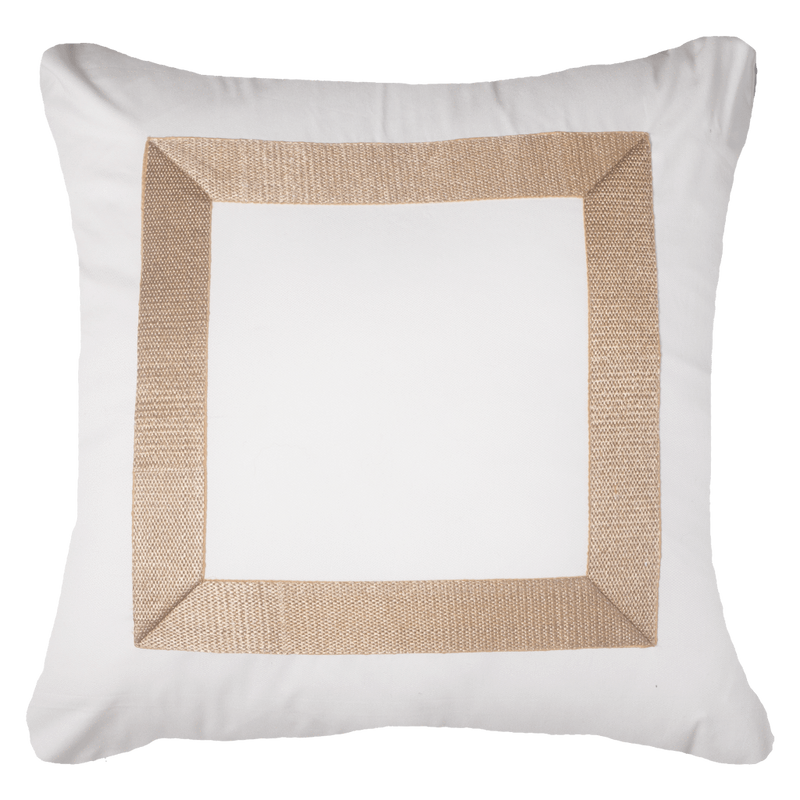 Bandhini White & Gold Braid Euro Cushion Cover
