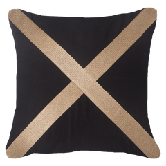Bandhini Black & Gold Braid Euro Cushion