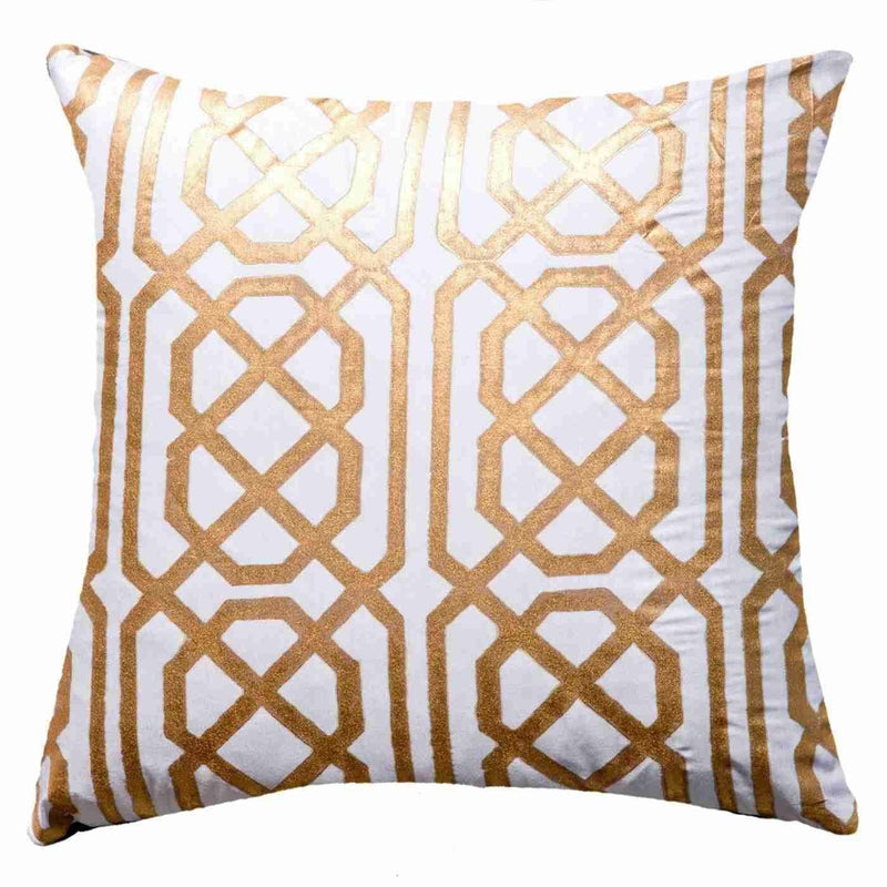 Bandhini White & Gold Tassel Disc Lounge Cushion