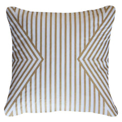 Bandhini White & Gold Braid Cross Cushion