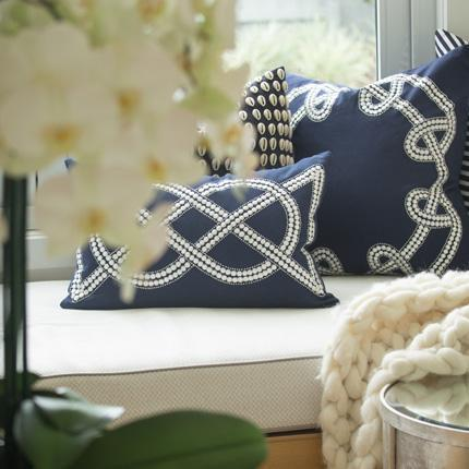 Bandhini Navy Dot Chain Knot  Lumbar Cushion