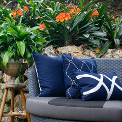 Bandhini Outdoor Navy Star Lumbar Cushion