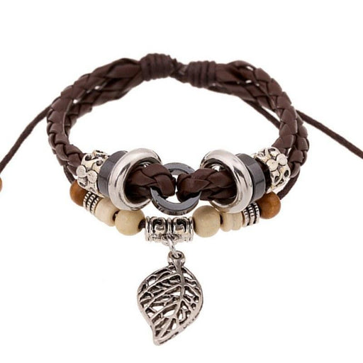 Bohemian Leaf Charm Retro Beaded Genuine Leather Bracelet - planetshopper.net