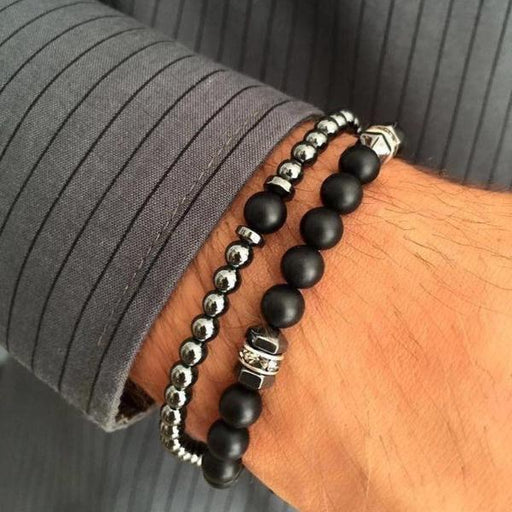 Classic Stainless Steel Chain Stone Beads Bracelet Set - planetshopper.net