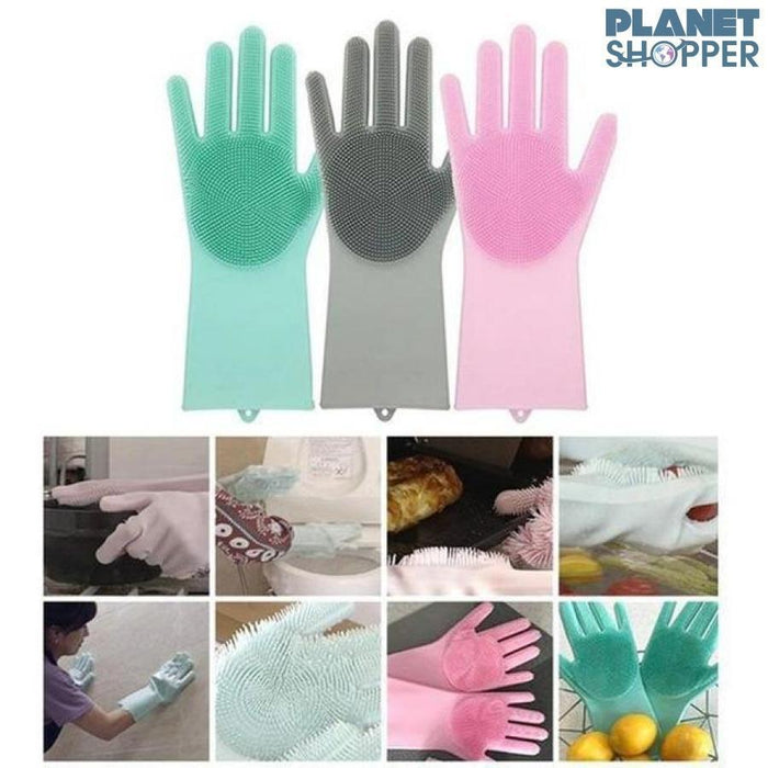 Guanti di lavaggio per piatti in silicone Magic Rubber - planetshopper.net