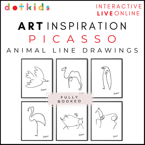 PICASSO ANIMAL LINE DRAWINGS Art Inspiration Workshop: Live Online: 1.30pm Wed 17 Feb