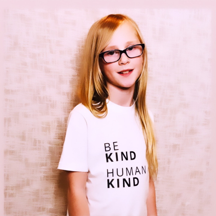BE KIND HUMAN KIND T-Shirt For Children: White With Black Font Design