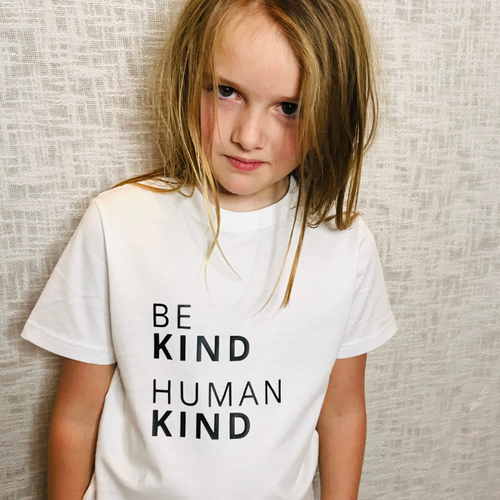 BE KIND HUMAN KIND T-Shirt: White & Black