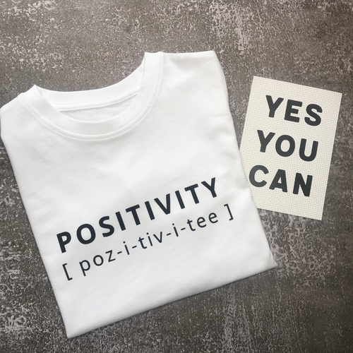 POSITIVITY T-Shirt For Children: White With Black Font Design