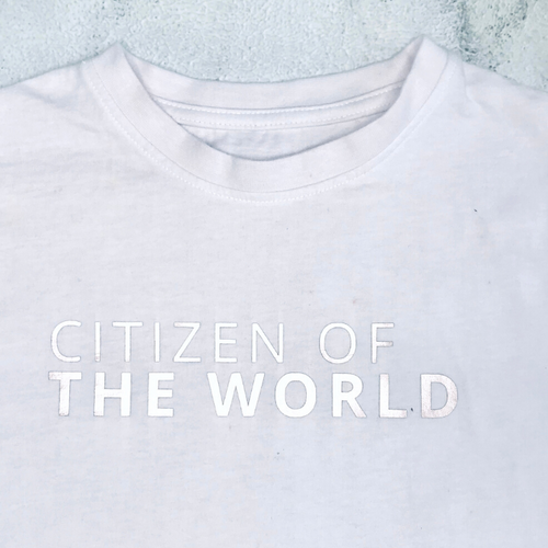 CITIZEN OF THE WORLD Organic T-Shirt For Children: Watery Grey With Silver Font Design