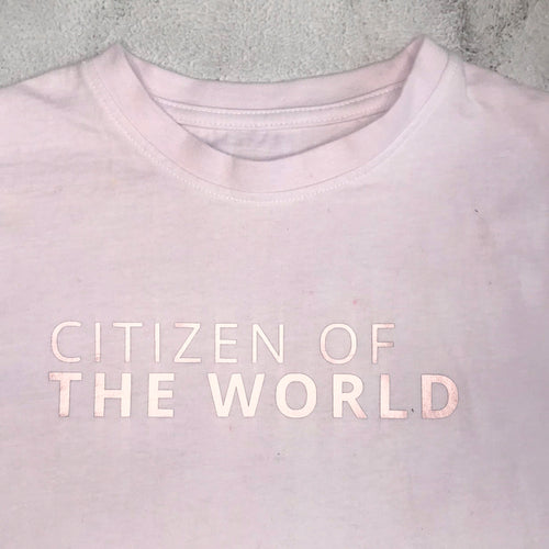 CITIZEN OF THE WORLD Statement T-Shirt For Children: Watery Pink With Rose Gold Font Design