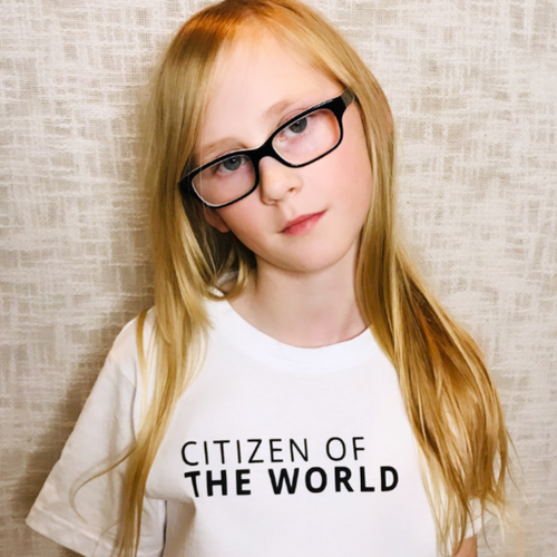 CITIZEN OF THE WORLD T-Shirt For Children: White With Black Font Design