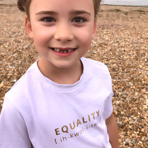 EQUALITY Statement T-Shirt For Children: Watery Pink With Gold Font Design