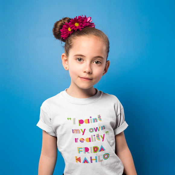 I Paint My Own Reality Frida Kahlo Children's T-Shirt - white - Dot Kids Ltd