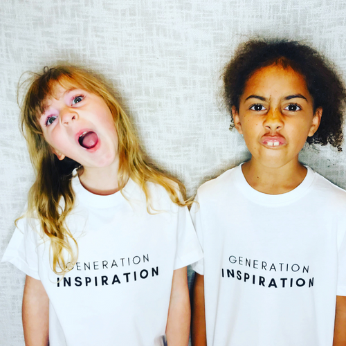 Generation Inspiration Statement T-Shirt For Children: White With Black Font Design