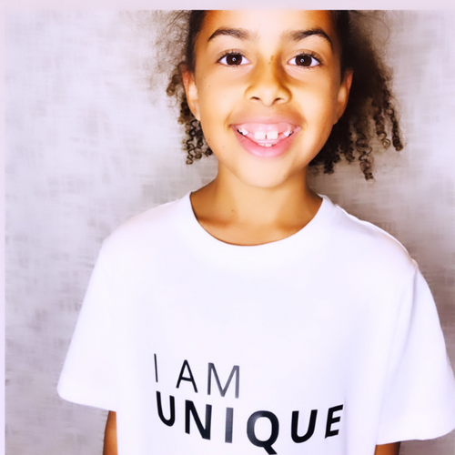 I AM UNIQUE T-Shirt For Children: White With Black Font Design