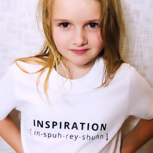 INSPIRATION T-Shirt For Children: White With Black Font Design