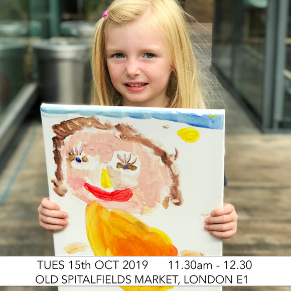 Adult & Child Pre-School Art Club: Portrait Painting Art Workshop: Old Spitalfields Market, London E1