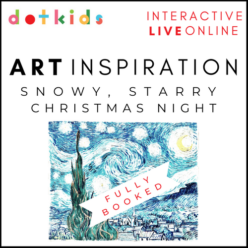 SNOWY, STARRY CHRISTMAS NIGHT Art Inspiration Workshop For All The Family: Live Online: Mon 21 Dec 10.30am