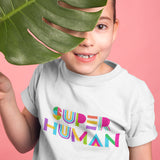Super Human Children's T-shirt - White - Dot Kids Ltd