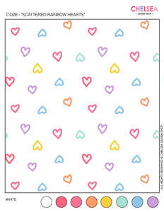 "C-028 - ""SCATTERED RAINBOW HEARTS"""