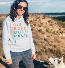 Load image into Gallery viewer, Dirt Roads Dusty Paws Hoodie | Ash White