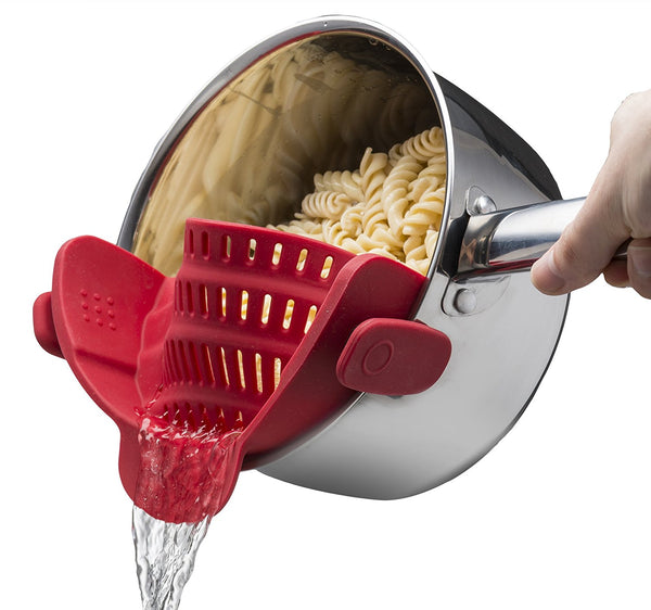Silica Gel Grid Kitchen Gizmo Snap 'N Strain Strainer Clip On Silicone Colander Fits All Pots and Bowls