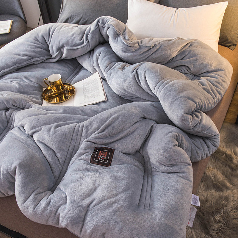 Luxury Flannel Quilt Winter Soft Warm Duvet Cotton Filling Comforter