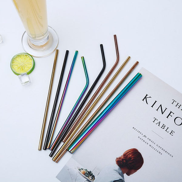 Fashion 4/7 Pcs Multicolor Stainless Steel Metal Drinking Straw