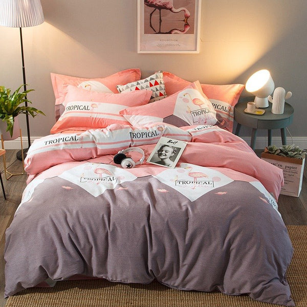 【Free Shipping】4Pcs 100% Cotton Thicken Bedding Set