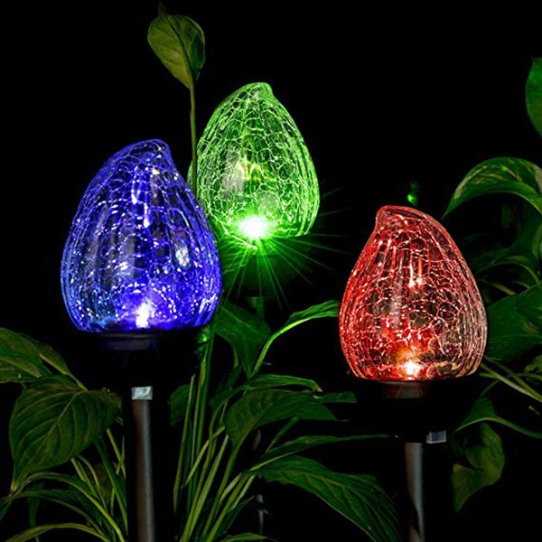 Outdoor Solar Lights Cracked Glass Flame Shaped Dual LED Garden Color Changing Lights