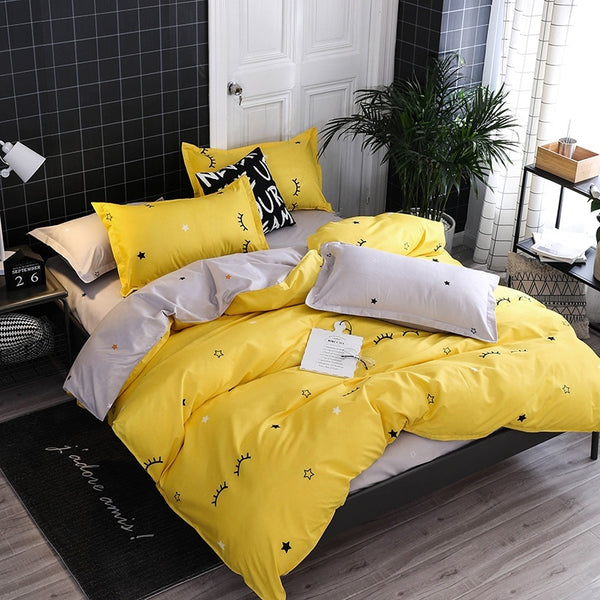 4 Pcs Cute Sleepy Eyes Bedding Quilt Cover Duvet Cover Set
