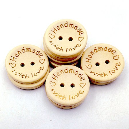 100 PCS Hand-made with Love Wooden Sewing Buttons