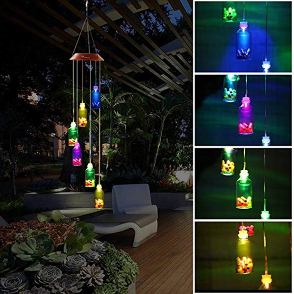 Color Changing LED Solar Wind Chime Wishing Bottle Solar Hanging Night Light