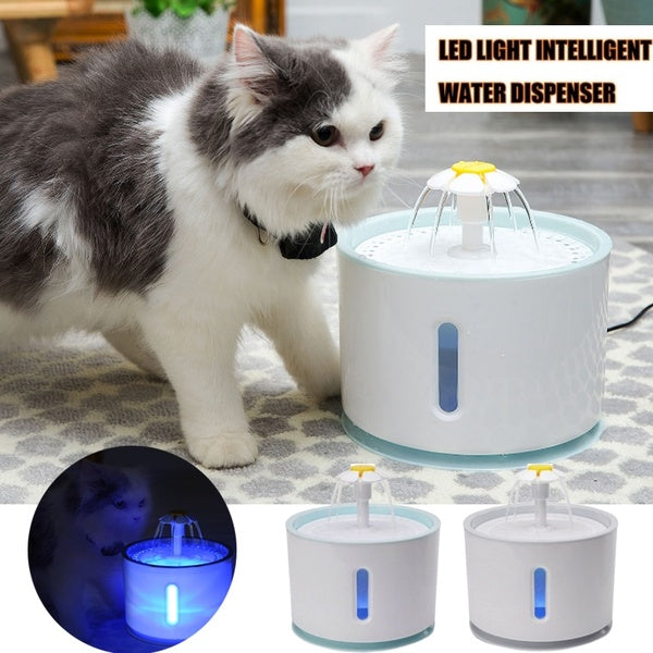 2.4L LED Light Automatic Cat Dog USB Electric Water Fountain Pet Drinking Dispenser