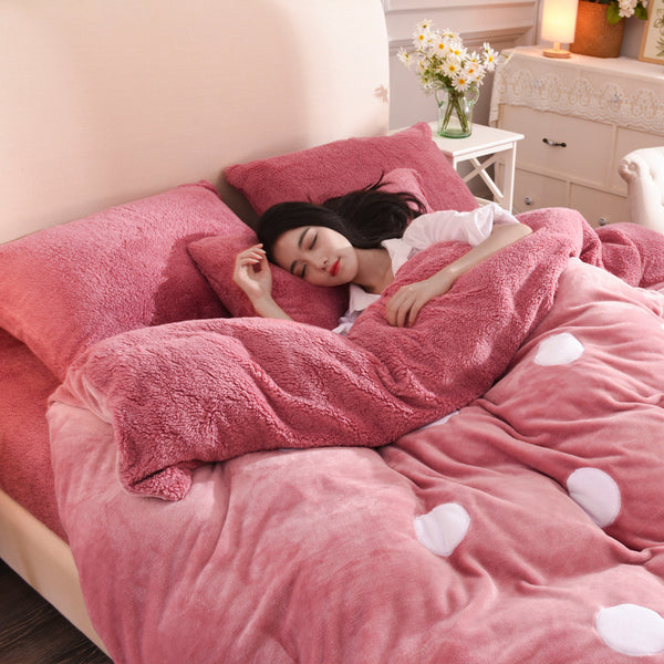 【Free Shipping】4Pcs Flannel Wool Bedding Set Queen King Size Duvet Quilt Cover Bed Sheet Pillowcase