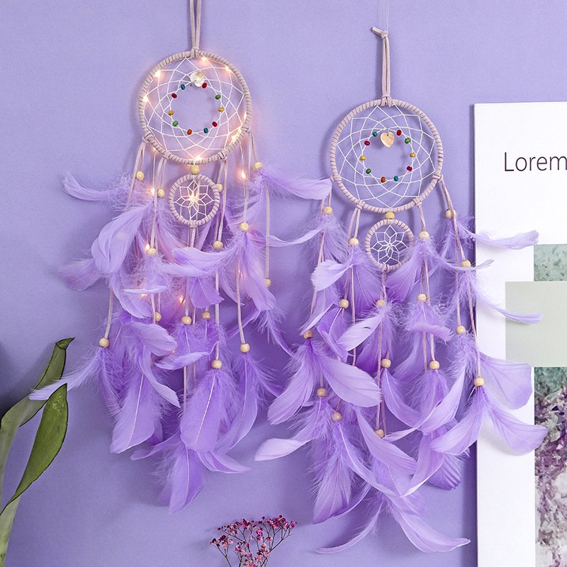 Dream Catcher With Feathers Bedroom/Wall/Car Hanging Decoration Ornament With or Without Light